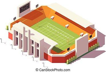 stadio, vettore, poly, football, basso, isometrico