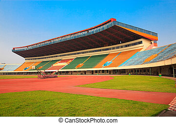 stadion, -, akker, en, tribunes