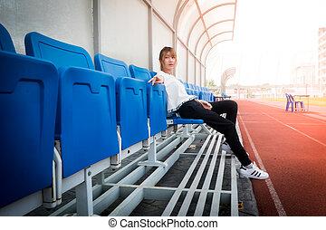 stadion, entspannen, mädels, junger, brechen, haben, athletik, glücklich
