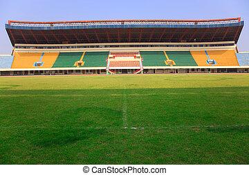 stadion, -, fält, och, tribunes