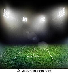stadion, in, lichter, und, blitze