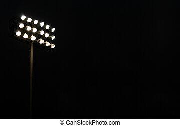 stadion, lichten, op, een, speelveld, op de avond, met, de...
