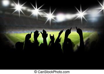 stadion, mit, fans