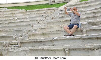 stadion, samiec, turysta, filmowanie, starożytny