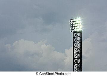 stadion, schijnwerper, wolk, onder
