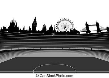stadion, und, london, skyline, -, vektor