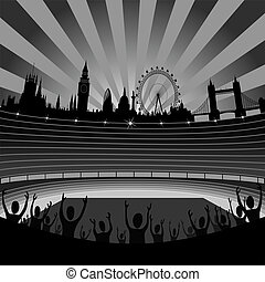 stadium and London skyline - vector