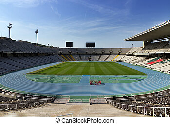 stadium., barcelona, oriëntatiepunt, spain.