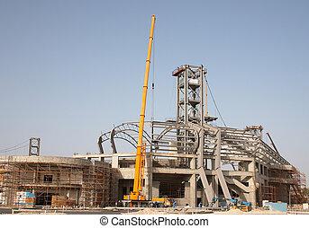 Stadium construction - Sports stadium under construction in...