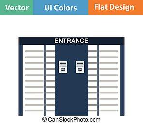 Stadium entrance turnstile icon. Flat design in ui colors....
