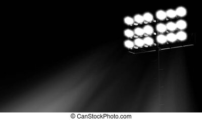 stadium flood lights turning on a black background 3d render illustration