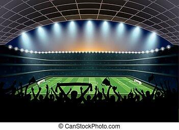 stadium., gente, fútbol, excitado, futbol, multitud
