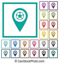 Stadium GPS map location flat color icons with quadrant ...