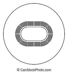 Stadium icon black color in circle