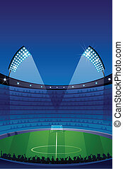 Stadium - illustration of stadium with floodlight and crowd
