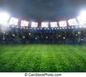 stadium in lights - Green soccer stadium, illuminated field...