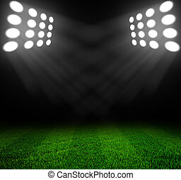 stadium lights at night and stadium