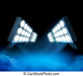 Stadium lights premiere - Stadium style lights illuminating...
