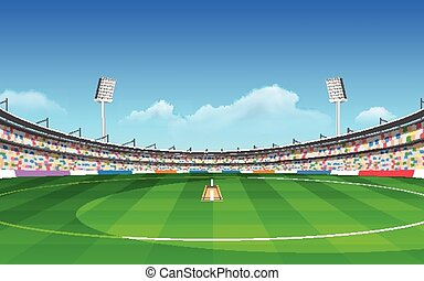 Stadium of cricket - illustration of stadium of cricket with...