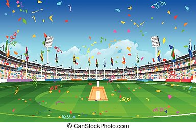 Stadium of cricket showing flags of participating countries...