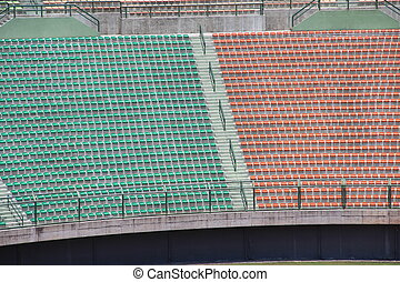 Stadium red and green seats