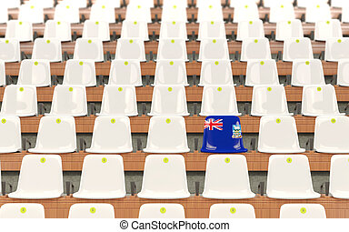 Stadium seat with flag of falkland islands in a row of white chairs. 3D illustration