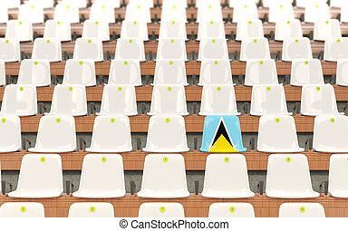 Stadium seat with flag of saint lucia