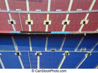 Stadium Seating - Rows of seating in stadium, Nou Camp,...