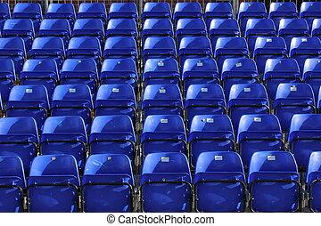 stadium seating - rows of blue stadium seating
