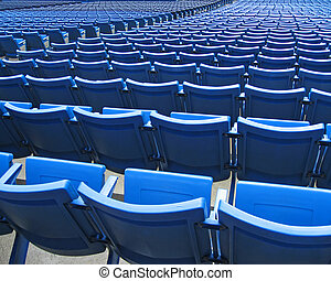 Stadium Seats - Blue stadium seats in a baseball stadium