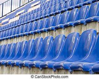 stadium seats - Rows of the empty stadium blue seats