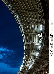 stadium soccer roof at night game with copy space