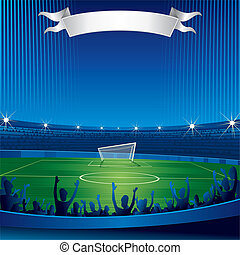 Soccer stadium with fans, vector background for your text