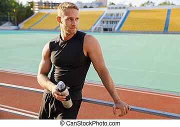 stadium., sport, aufwerfen ansehen, mann