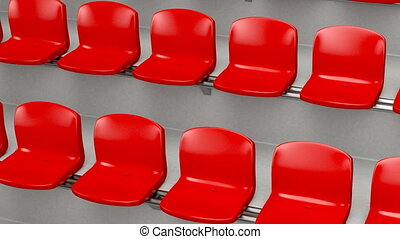 Stadium - Red plastic seats at the stadium