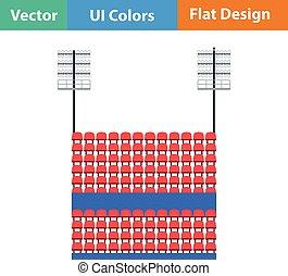 Stadium tribune with seats and light mast icon. Flat design in ui colors. Vector illustration.