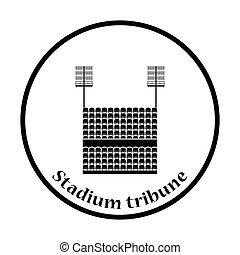 Stadium tribune with seats and light mast icon