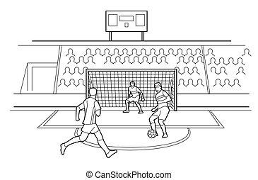 stadium., vektor, verteidigen, sitzen, zuschauer, schwarz, spieler, weißer hintergrund, gates., steht, fußball, abbildung