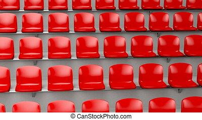 Stadium - Red plastic seats at the stadium, camera travel...