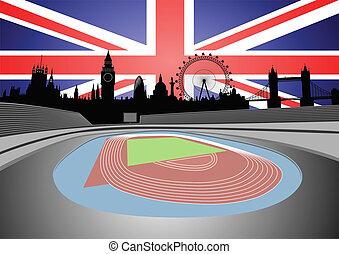 stadium with London skyline - Illustration of the stadium...