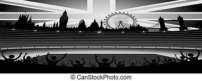 stadium with London skyline vector