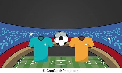 stadium with uniforms soccer match versus teams animation