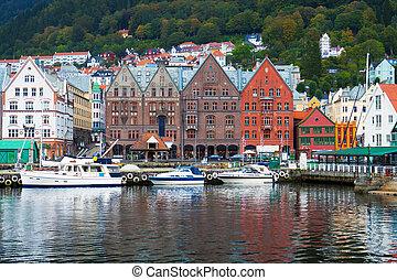 stadsbild, av, bergen, norge