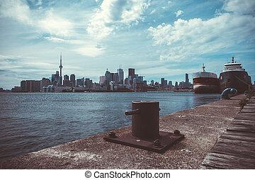 stadsbild, av, toronto, in, kanada, den, synhåll, av, insjö ontario