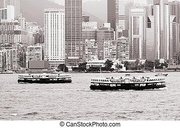 stadsbild, av, två, stjärna, färja, på, viktoria tillflyktsort, in, hongkong
