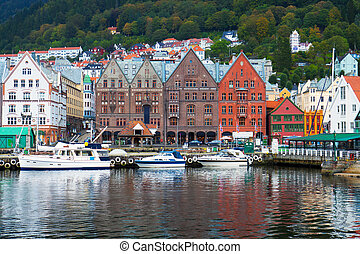 stadsbild, bergen, norge