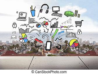 stadsbild, grafisk, bakgrund