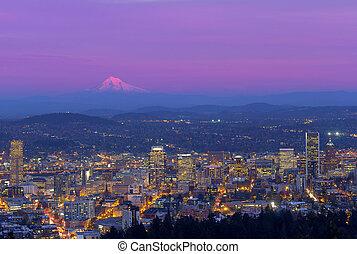 stadsbild,  portland,  Oregon, skymning