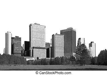 stadsbild, -, silhouettes, av, skyskrapor