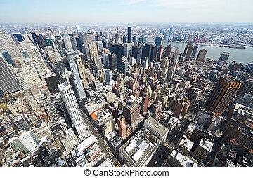 stadsbild, synhåll, av, manhattan, från, kejsardöme...